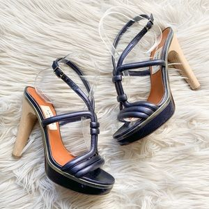 LANVIN Metallic Navy Leather Platform Sandal Heels
